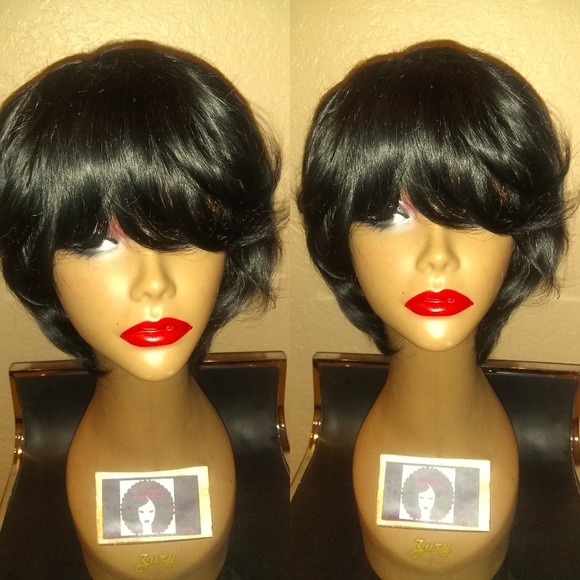 Kinky Wigs Accessories 100 Human Short Wrap Feathered Hair Wig Poshmark